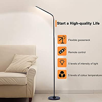 LED Modern Floor Lamp,Flexible Gooseneck Standing Reading Light with Stable Base, 5 Color Temperture &5 Brightness Dimmer?Touch & Remote Control,Reading Lamp for Living Room, Office, Bedroom ?Black?Mo