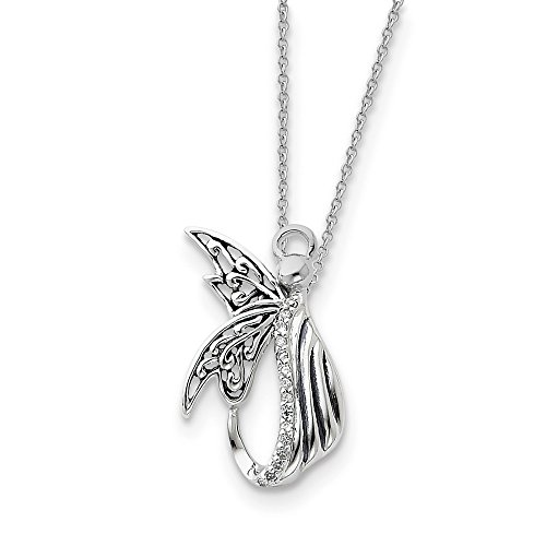 (925 Sterling Silver Cubic Zirconia Cz Angel Of Perseverance 18 Inch Chain Necklace Pendant Charm Religious Inspirational Fine Jewelry Gifts For Women For Her)