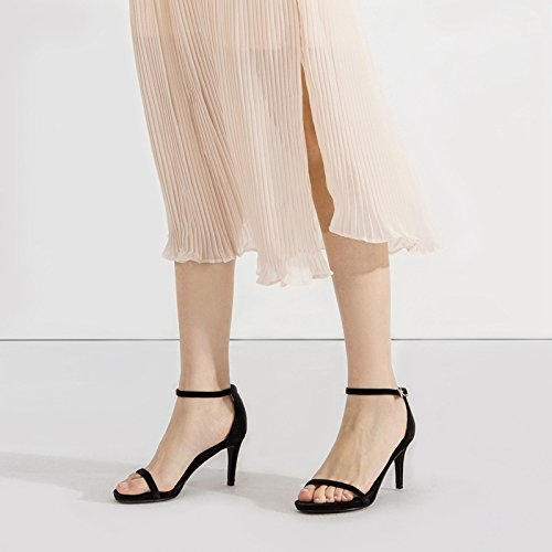 alti sandali con 37 da estiva freschi fibbia casual donna tendenza alti freschi Tacchi Nero tacchi DHG IwTaqv