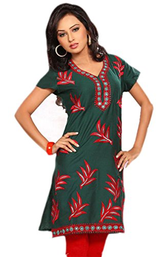 jayayamala Vert Couleur Coton col en V Floral Tunique brodé Top