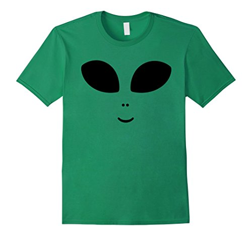 Space Needle Costume (Mens Cute Alien Face Halloween Costume Hipster Unisex T-Shirt Small Kelly Green)