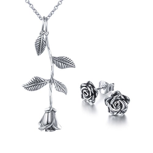 (ALPHM S925 Sterling Silver Rose Flower Jewelry Sets Oxidized Pendant Necklace Earrings Set for Women)