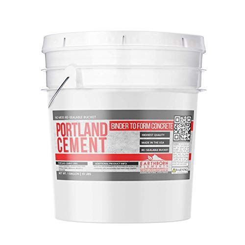 (Portland Cement (1 Gallon Bucket, 10 lb) by Earthborn Elements, Type I, II, V, Resealable Bucket, Construction Material, Used to Make Concrete, Binder, Cement Powder)
