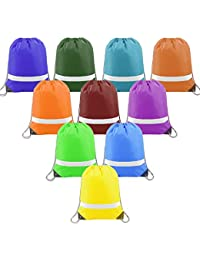 Colorful-Drawstring-Backpacks-Bags-Bulk Reflective String Bags, Cheap Sports Gym Sack Cinch Bags for School and Team