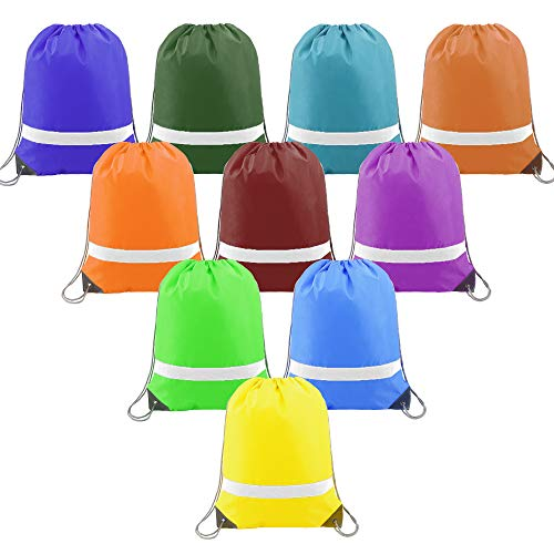Drawstring Backpack Bags Reflective Bulk for Kids 10 Pack, Promotional Sports Gym Sack Cinch Bags String Backpacks for Party from BeeGreen