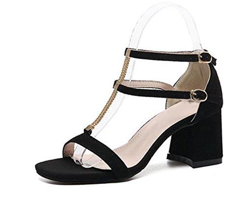 Verano gruesa con sandalias de tacón alto de la cabeza hueca cuadrada hebilla de zapatos abiertos tras bolsa con sandalias Black