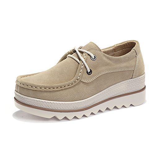 HKR-JJY3089xingse41 Women Lace Up Platform Wedge Oxfords Shoes Comfort Round Toe Suede Moccasins Shoes Tan 8.5 B(M) US -