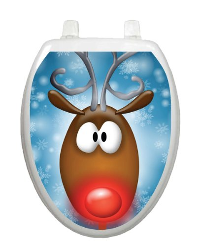 Rudy Christmas Toilet Tattoo TT-X616-O Elongated Winter Snow Holiday Reindeer by Toilet Tattoo
