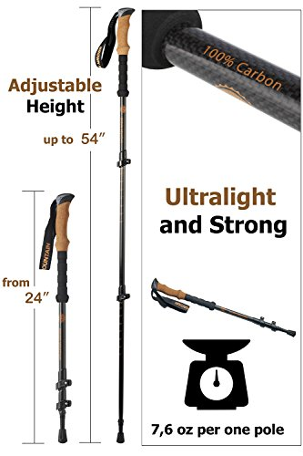 Trekking Poles For Women Men U2013 Walking Sticks U2013 Hiking Poles U2013 Walking  Trekking Poles U2013 100% Carbon Fiber Collapsible Trekking Poles U2013 Lightweight  Hiking ...