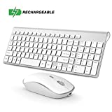 Rechargeable Wireless Keyboard Mouse, 2.4G Thin Wireless Computer Keyboard and Mouse, Ergonomic,Compact, Full Size Perfect for Travel-Silver and White