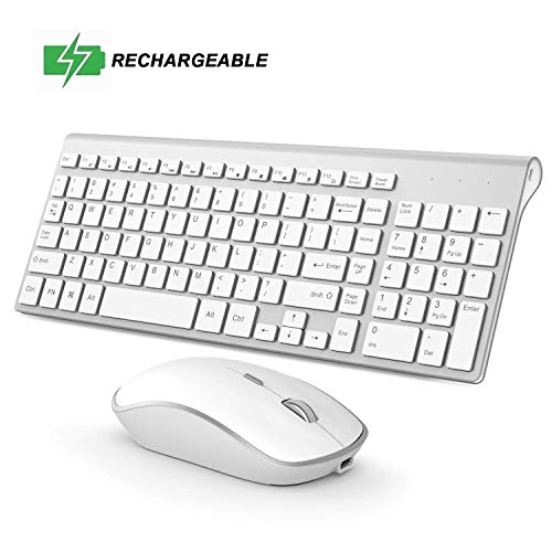 Rechargeable Wireless Keyboard Mouse, 2.4G Thin Wireless Computer Keyboard and Mouse, Ergonomic,Compact, Full Size Perfect for Travel-Silver and White (White Keyboard And Wireless Mouse)