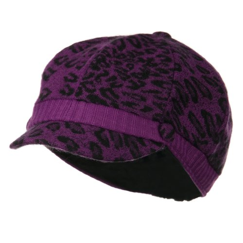 Animal Print Newsboy Cap - Purple OSFM