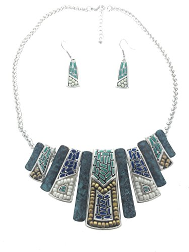 (Mosaic Design Tribal Native American Style Southwest Silver & Turquoise Bib Necklace)