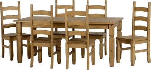 Corona Ausziehbarer Esstisch aus Holz mit 6 Stühlen