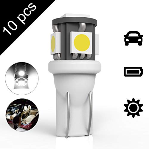 194 T10 5SMD LED Bulbs Car License Plate Lights Lamp White 12V ()