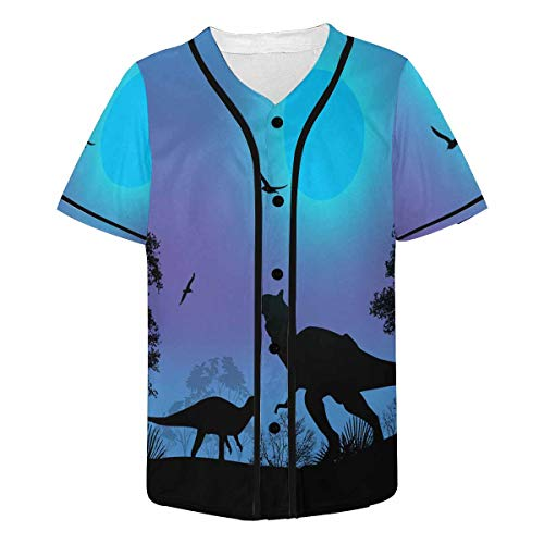 INTERESTPRINT Men's Dinosaurs Silhouettes Full Moon Baseball Jersey Button Down Short Sleeve Shirt L