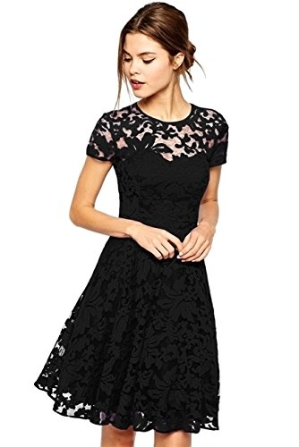 Amoluv Women Round Neck Short Sleeve Pleated Lace Slim Dress Black, X-Large