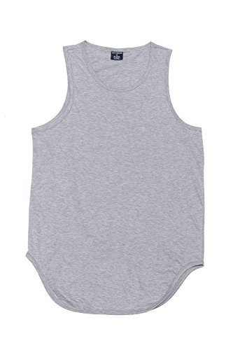 ff97260306874d Victorious Solid Color Long Length Curved Hem Tank Top TT47 - GREY -  X-Large - A1D - A8D   Tank Tops   Clothing