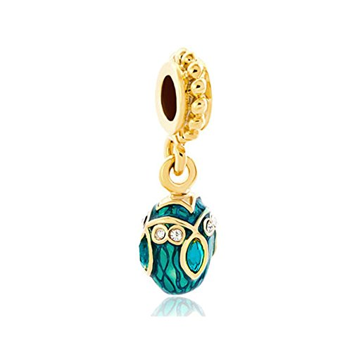 ReisJewelry Easter Faberge Egg Charms Dangle Enamel Charm Beads For Bracelets (Green)