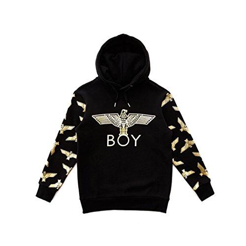 Eagle Patterned On Sleeves Brushed Hoodie - Black-Gold,Black-Silver New_(BG4HD039) (Black-Gold, XLarge) by BOY London