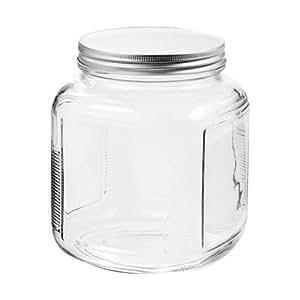 Anchor Hocking 85787R Cracker Jar Brushed Lid, 2 Quart, Clear