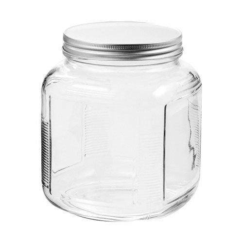 Anchor Hocking 85787R Cracker Jar Brushed Lid, 2 Quart, Clear