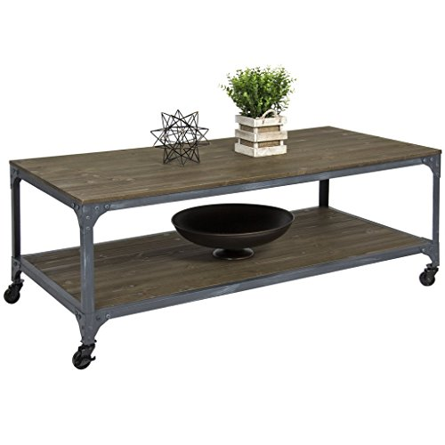 Coffee Table 48 Inch Long With Storage Wood Living Room 18 Inches High In Rustic Design - 4 Tier Oval Shelf Cart