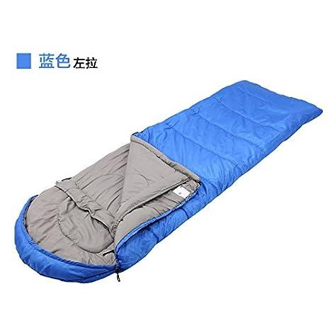 SUHAGN Saco de dormir Otoño Invierno Al Aire Libre Camping Adultos Sobres Con Sacos De Dormir Con Capucha Gruesa Azul Claro,Cremallera Izquierda: Amazon.es: ...