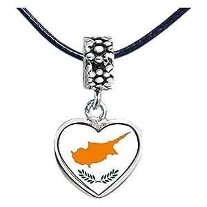 Chicforest Silver Plated Cyprus flag Photo Flower Head Dangle Heart Charm Beads Fits Pandora Biagi Troll Chamilia Kay's Beads Charms