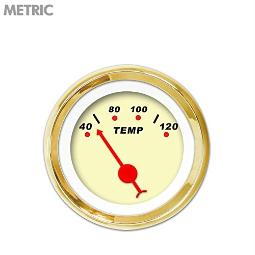Red Classic Needles, Gold Trim Rings, Style Kit Installed Aurora Instruments 4658 Modern Rodder Tan Metric Water Temperature Gauge