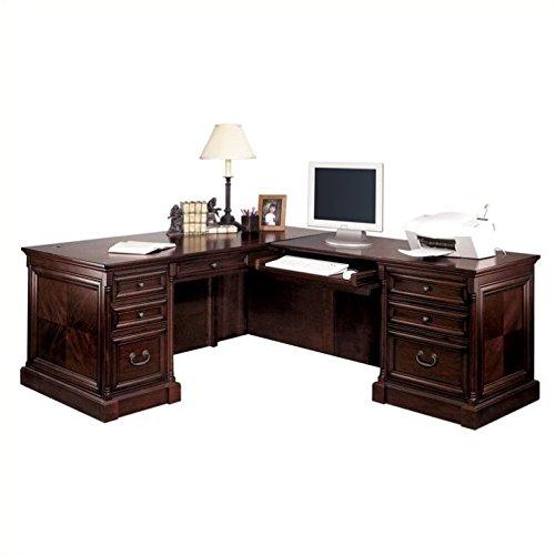 Martin Furniture Cherry Desk - Martin Furniture Mount View Executive RHF L-Shaped Desk in Cherry Cobblestone