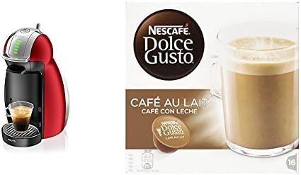 Pack Krups Dolce Gusto Genio 2 KP1605 - Cafetera de cápsulas, 15 bares de presión, color rojo + 3 packs de café Dolce Gusto Con Leche: Amazon.es: Hogar