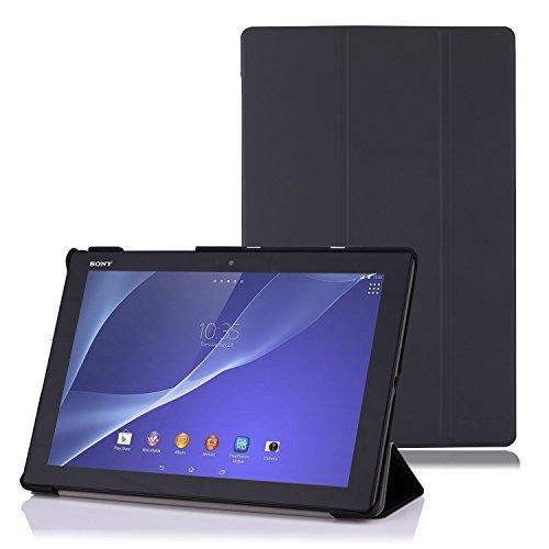 Sony Xperia Z4 Hülle Case - MoKo Ultra Slim leichtgewichtiges Schutzhülle PU Leder Tasche Ledertasche Folio Etui Smart-Schale Smart Cover für Sony Xperia Z4 Tablet Ultra 10.1 Zoll 2015,SCHWARZ