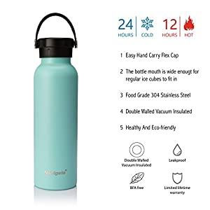 NAVIGATE 20/32 oz Wide Mouth Stainless Steel Water Bottle With Bonus Lid, Double Walled Vacuum Insulated Travel Sports Flask Thermos |Keep Drink Stay Cold & Hot,BPA Free, Leak Proof