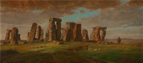High Quality Polyster Canvas ,the Beautiful Art Decorative Prints On Canvas Of Oil Painting 'Jasper Francis Cropsey,Stonehenge,1876', 10x23 Inch / 25x58 Cm Is Best For Game Room Artwork And Home Decoration And Gifts