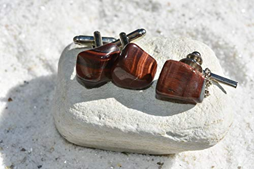 Red Tiger's Eye Stone Cuff Links and Tie Tack Set