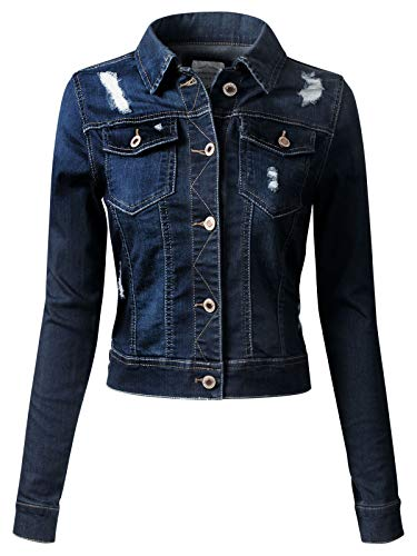 Instar Mode Women's Long Sleeve Crop Top Button Up Comfort Stretch Denim Jacket, Idjw014 Dark Denim, 3X-Large
