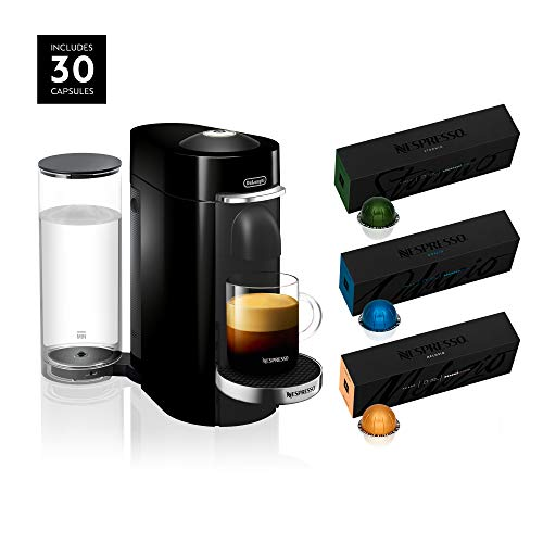 Nespresso VertuoPlus Deluxe Coffee and Espresso Maker by De'Longhi, Black, with Best-Selling Coffees