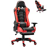 JL Comfurni Gaming Chair Ergonomic High-Back Racing Chair PU Leather Computer Swivel Office Desk Chairs Adjustable Headrest and Lumbar Support Executive Reclining Task Chair with Footrest Red