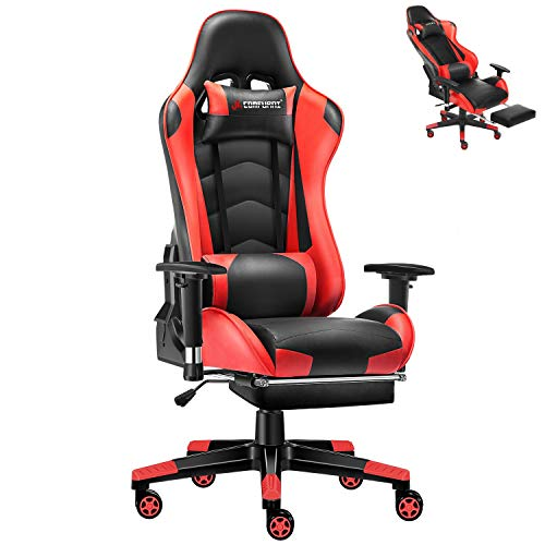 JL Comfurni Gaming Chair Executive Office Chair Reclining High-Back Ergonomic PU Leather Desk Chair Racing Swivel Computer Chair with Adjustable Headrest and Lumbar Support for Adults - Red JL Comfurni