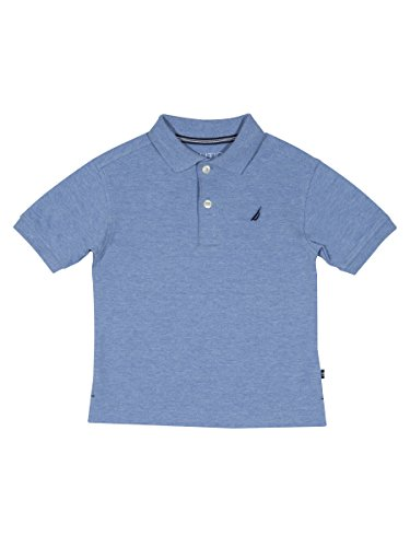 Nautica Boys' Toddler Short Sleeve Solid Deck Stretch Polo, Anchor Sky Blue, 4T