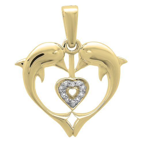 0.05 Carat (ctw) 10K Gold Real Round Diamond Ladies Double Dolphin Heart Pendant