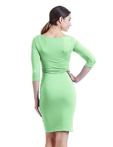 Neck 3 Bodycon USA Womens CTC in Dress Sleeve 4 Deep Tulip mint Wdr940 V Made qqtIf