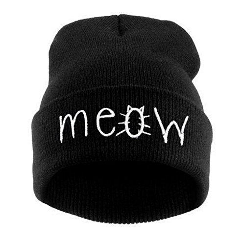 [Winhurn Men & Women Winter Warm Knitted Beanie Hat Snapback Hiphop Cap (Black)] (Hip Hop Felt Hat With Feather)
