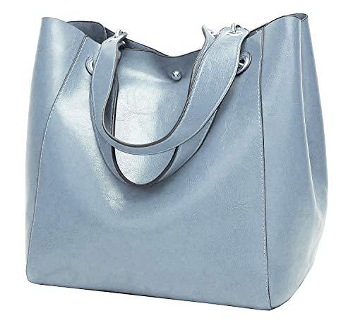 Molodo Womens Satchel Hobo Top Handle Tote Leather Handbag Designer Shoulder Purse Bucket Crossbody Bag (Blue)