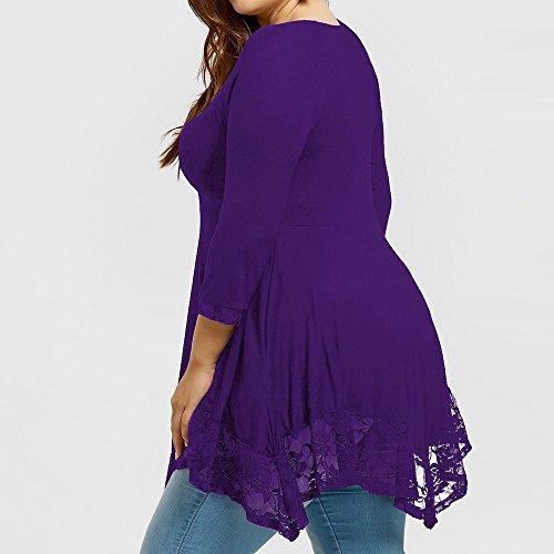 Tops Manica maglietta Weant Estate Cime Donna Elegante Nuda Pizzo Tshirt Camicie viola Blusa Sciolto Forti Camicetta Orlo Donne Zz Casual Irregolare Spalla Taglie Abbigliamento AtqvqxWXr