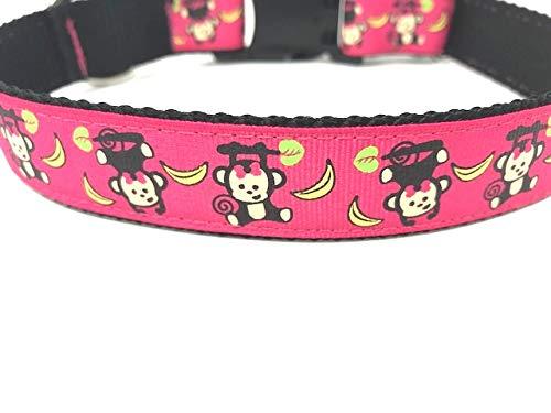 Big Pup Pet Fashion Cute Monkey Print Dog Collar for Boy Or Girl, Pink Monkey and Bananas (XL 1