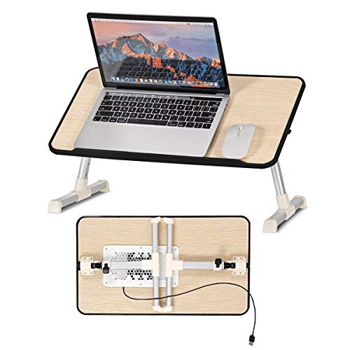 Safstar Folding Laptop Table Bed Tray Stand Portable Lap Desk Breakfast Tray Tilting Top for Sofa Couch Floor Surfing Reading Writing Table Standing Desk Notebook Ipad Book Holder Stand with USB Fans