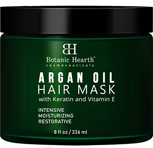 Botanic Hearth Argan Oil Hair Mask - Deep Conditioning Keratin Hair Treatment with Vitamin E - Moisturizing and Restorative, 8 fl oz (Hair Products For Dry Color Treated Hair)