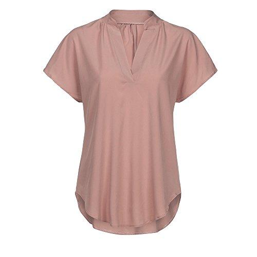 Rose en Soie Trydoit T Mousseline Femmes de Doux Manches Tops Chemisier Shirt DContract VTements D'T Courtes wnxZAa1x
